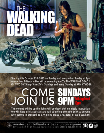 Join Us and Come Watch The Walking Dead Sundays 9pm