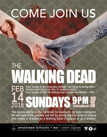 Bars watching The Walking Dead Season 6 February 14th 2016